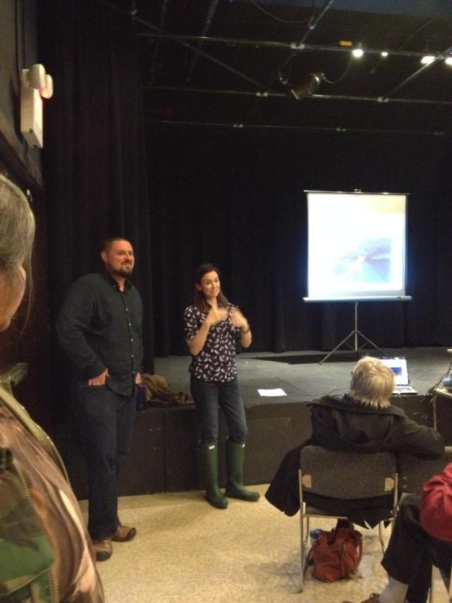 Sasha and Heidi share information during the Turning the Tide info night and film screening, April 2014